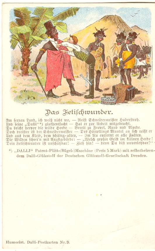 "Very early German Advertising Postcard for iron. The wonder of "" Fetish "" c. 1915"