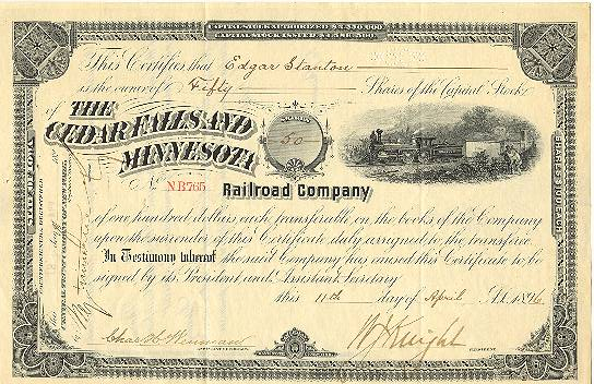 1896: The Cedar Falls and Minnesota Railroad Company: 50 Shares