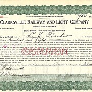 1910: Clarksville Railway and Light Company, old Share. 50% of Capital!