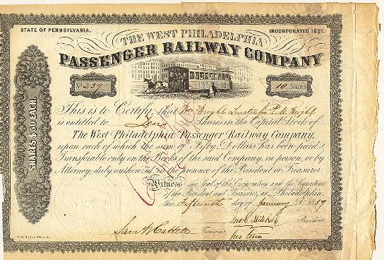 1859: The West Philadelphia Passenger Railway Company