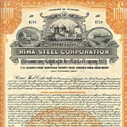 1925: Rima Steel. Wonderful, uncancelled Gold Bond