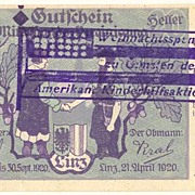 1920: Austria 20 Heller Bill with American Aid - Overprint
