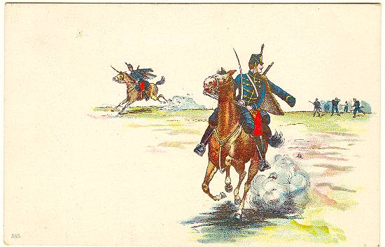 Imperial Austria Hungary Lithographed Postcard of Hussars c 1905