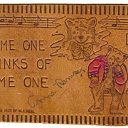 Old Leather Postcard: Bear Motif. Postally used in 1907