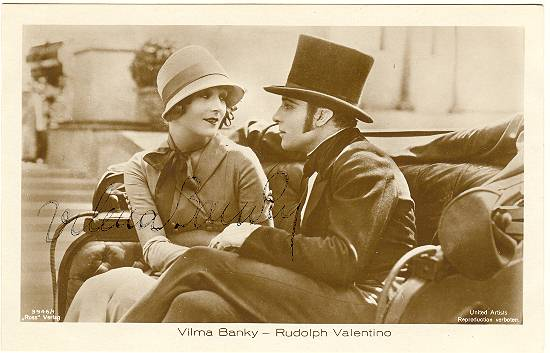 Vilma Bankey and Rudolph Valentino: Banky Autograph.