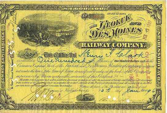 1896: The Keokuk and Des Moines Railroad Company: Obsolete Stock, 100 Shares