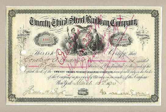 1910: Twenty Third Street Railway Company. Decorative. 100 Shares