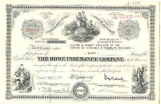 The Home Insurance. Obsolete, decorative Share with Fire Fighter.