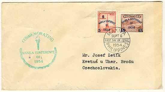 1954: Philippines, Manila Conference cover. FDC
