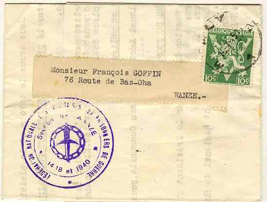 1945: Belgian Prisoner of War Mail – Wanze. W.W.II
