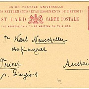 1910: Straits Settlement Postcard to Austria