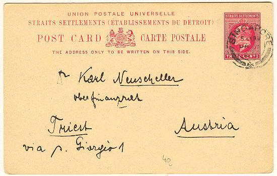 1910: Straits Settlement Postcard to Austria