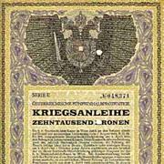 WWI: Decorative Austrian War Bond: First issue, 10 000 Kronen