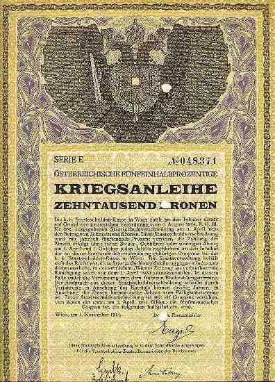 WWI: Decorative Austrian War Bond: First issue, 10 000 Kronen