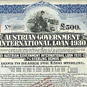 1930: Austrian Government International Loan 1930, scarce 500 Pounds