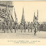 American Infantry parading in France / Paris. World War 1 Postcard