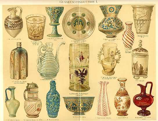 1898: Glass Industry. Old Chromolithograph