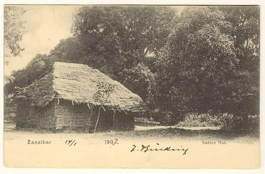 1907: Zanzibar Post Card to Austria. Native Hut
