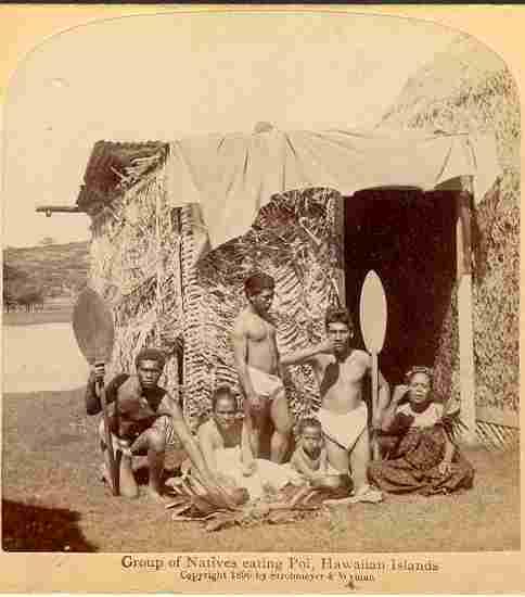 1896: Group of Hawaiian Natives eating Poi. Stereo Photo