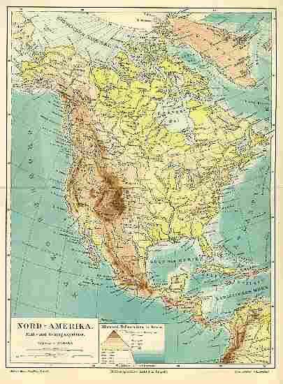 1898: 2 Old Maps of America, North and South. Printed in Germany