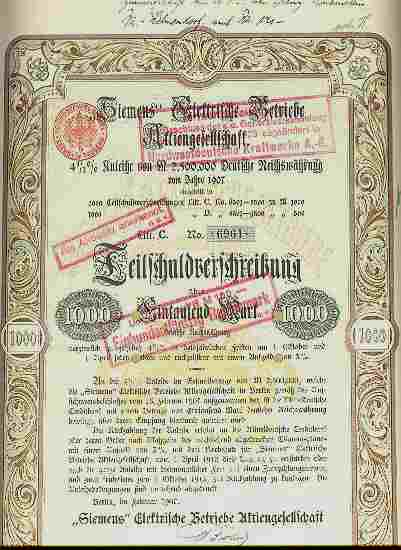 1907: Siemens Elektrische Betriebe AG. Fine Bond