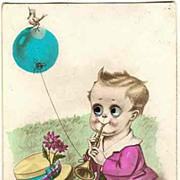 Ca. 1920: Postcard, moveable Eyes. Boy, Ballon and Bird