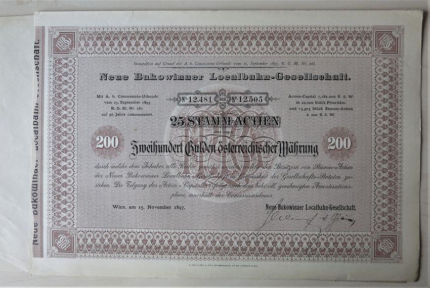 1897, Imperial Austria: Scarce Bukowinaer Local Railway Certificate: 25 Shares