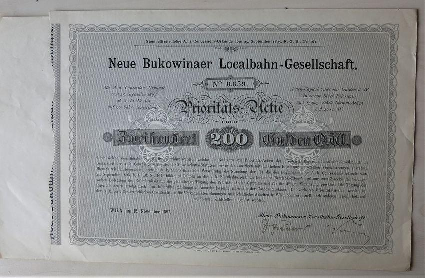 1897, Imperial Austria: Bukowinaer Local Railway Certificate: Priority Share