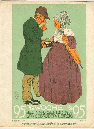 "1909: Erich Gruner: "" The Weekly "" Advertising Print for German Magazine"