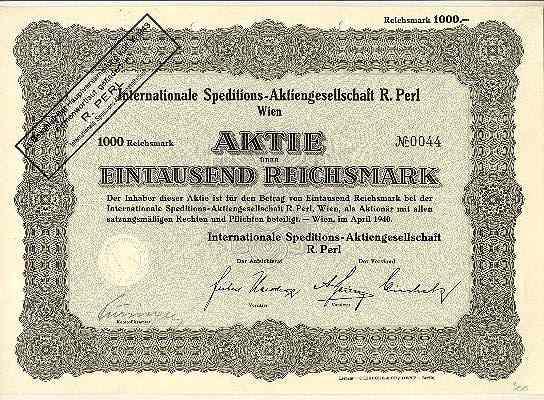 WWII: Austrian Transporter Share in Reichsmark.