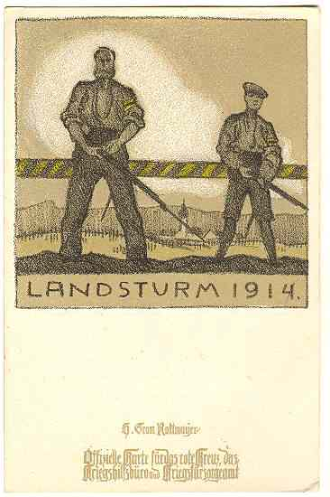W.W.I: Litho Postcard for Red Cross: Landsturm 1914