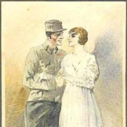 W.W.I.: 1918: Nice, original Watercolor: Soldier and Bride.