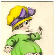 Ca. 1915: Girl with Glass Eyes. Hand colored Postcard.
