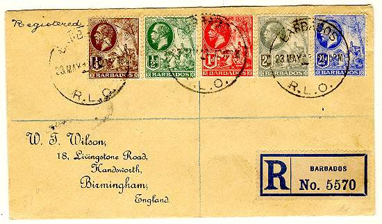1924: Registered Letter sent Barbados to England. Attractive Franking.