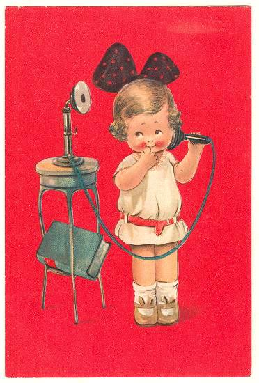 Cute Postcard: A sweet little Girl making a Phone Call