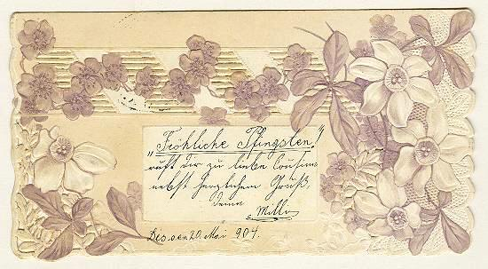 Happy Pentecost: Unusual, embossed Postcard from 1904