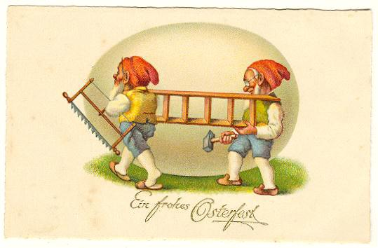 Happy Easter: Two Funny Postcards with Gnomes. Chromo Lithos