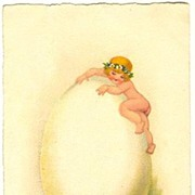 Happy Easter: Cute little Girl climbing up a huge Easter Egg. Litho Postcard.