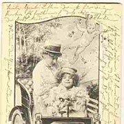Art Nouveau Postcard: Ladies in a Car. Guardian angels. Artist signed.