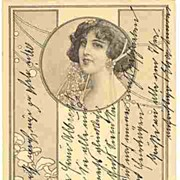 Art Nouveau Postcard: Lady and Mushroom Patterns.