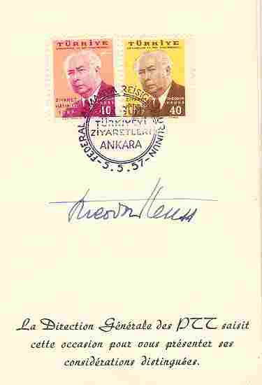 Theodor Heuss, First German President. Authentic Autograph. CoA