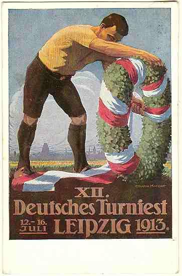 1913: German Gymnastics Festival, Leipzig. Artist signed