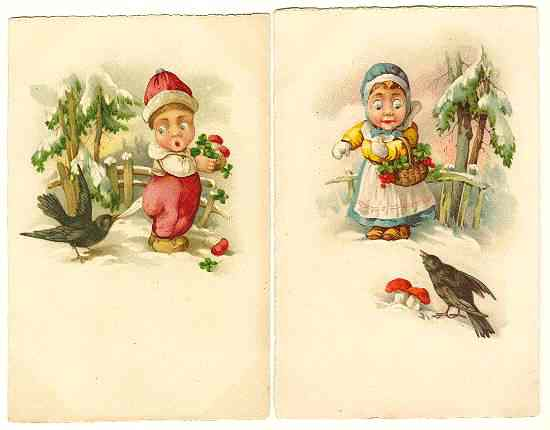 2 vintage Postcards: Kids and Craws. Chromolithographs