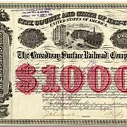 The Broadway Surface Railroad Company: 1000 $ Certificate. 1884