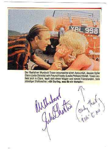 Julie Christie Autograph: Funny Misunderstanding! CoA