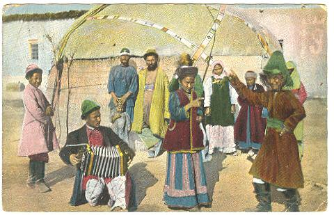 Central Asian Ethnics: Postcard from Poland to Bohemia.