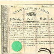 1854: Michigan Central Railroad Company. Old attractive Share