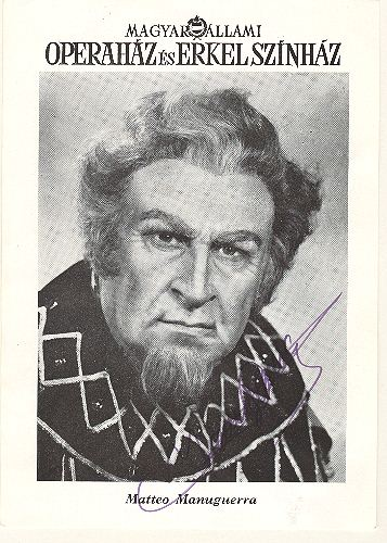 Matteo Manuguerra Autograph on Hungarian Ad. 5.8 x 8