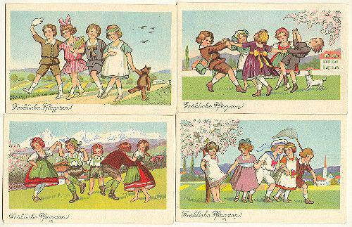 Set of 4 Picture postcard: Austrian Kids celebrating Pentecost