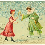 Happy New Year: Pierrot and Columbine, embossed Litho Postcard